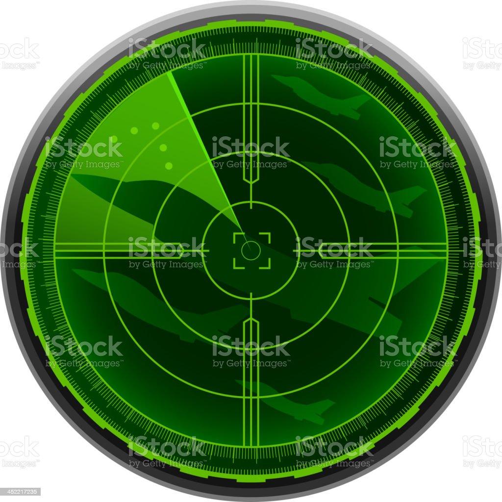 Airplane combat Radar Screen vector art illustration