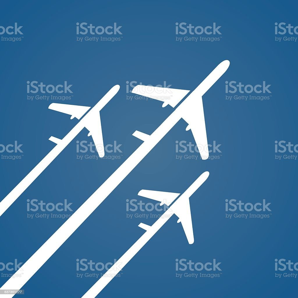 Airplane creative poster. vector art illustration