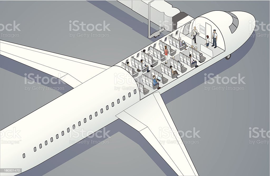 Airplane Cutaway Illustration vector art illustration