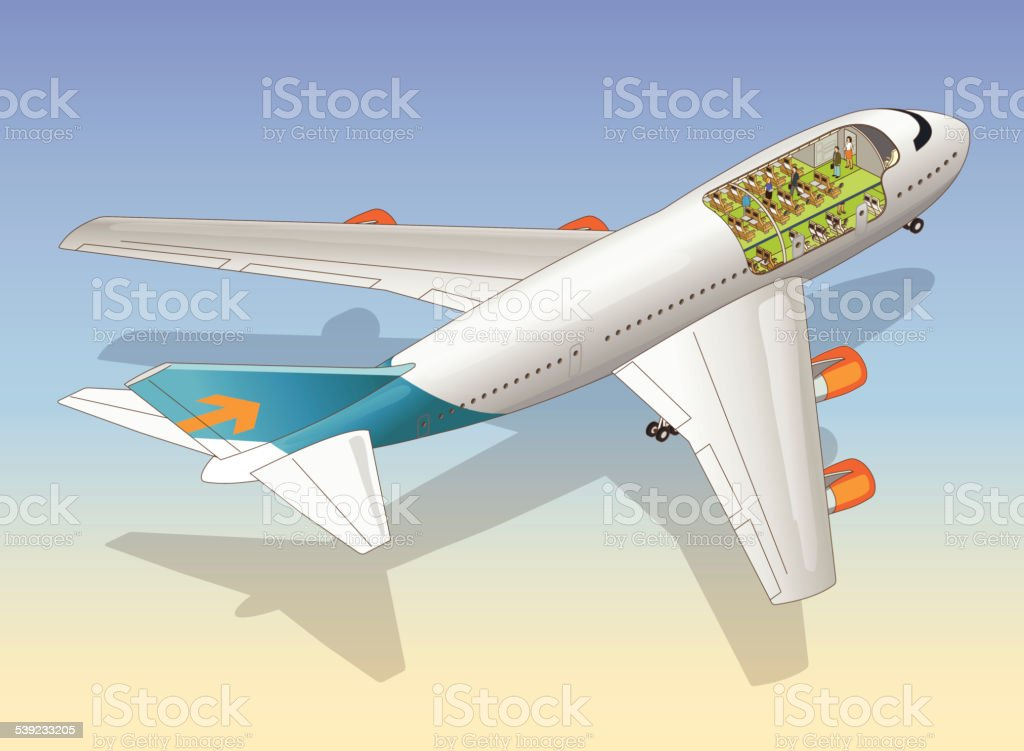 airplane cutaway vector art illustration