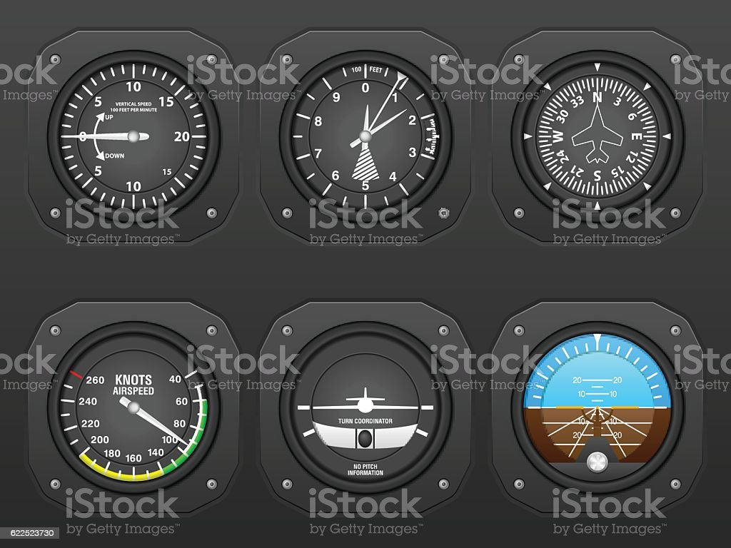 Airplane dashboard vector art illustration