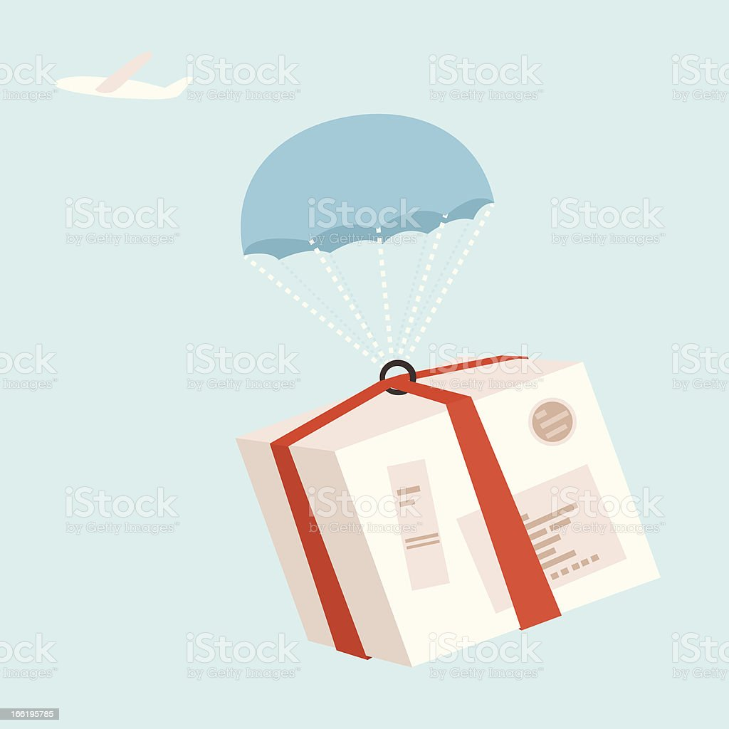 Airplane dropping package by parachute for air mail delivery royalty-free stock vector art
