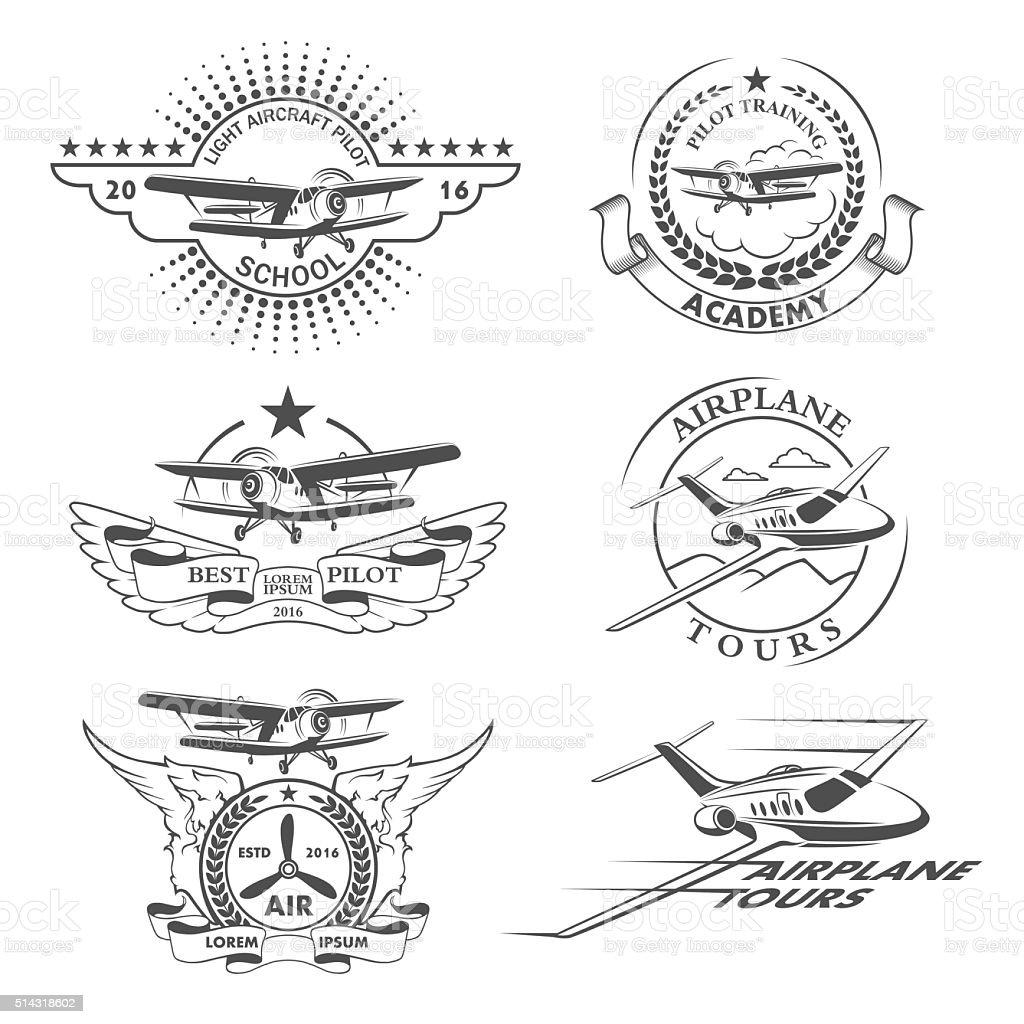 Airplane emblems vector art illustration