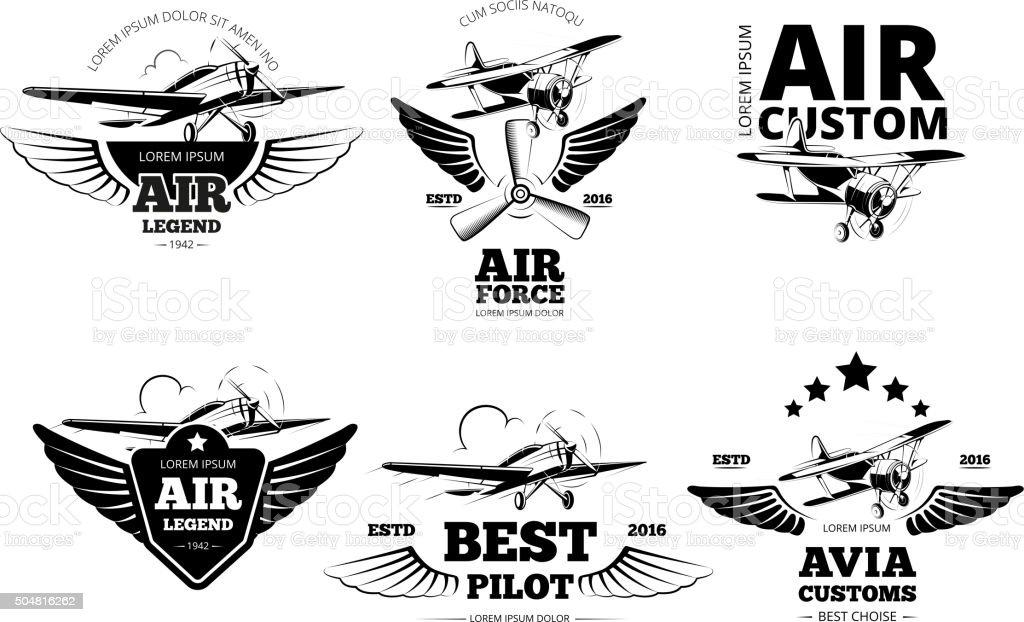 Airplane emblems vector labels vector art illustration