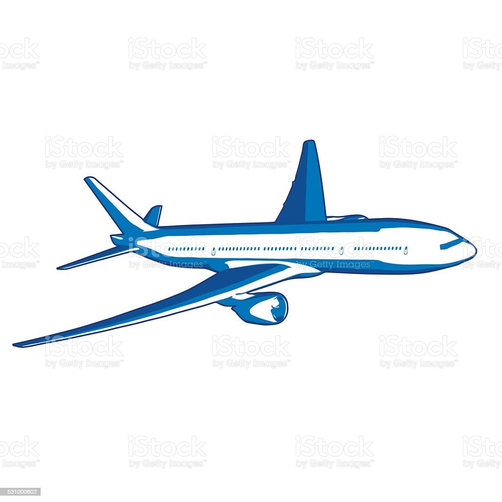 Avion vole droit stock vecteur libres de droits libre de droits