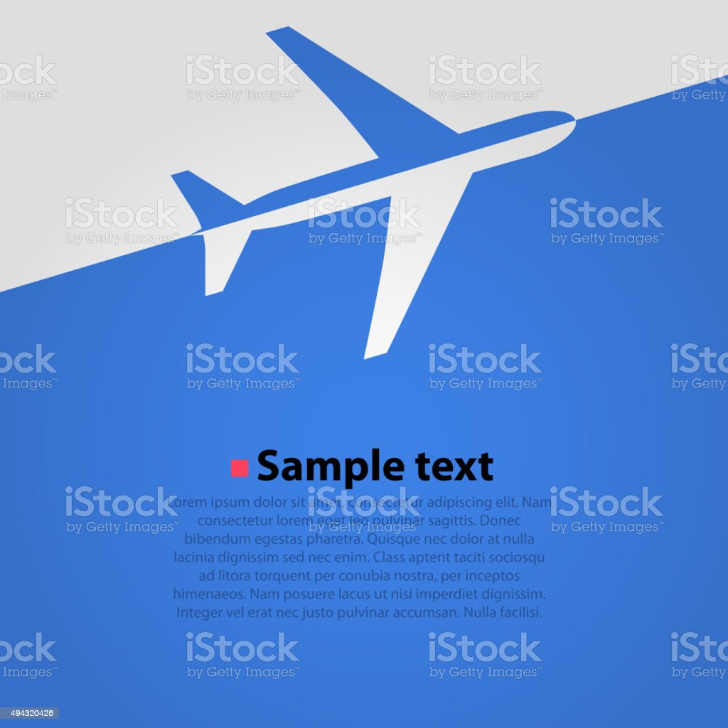 Airplane flight blue background vector art illustration