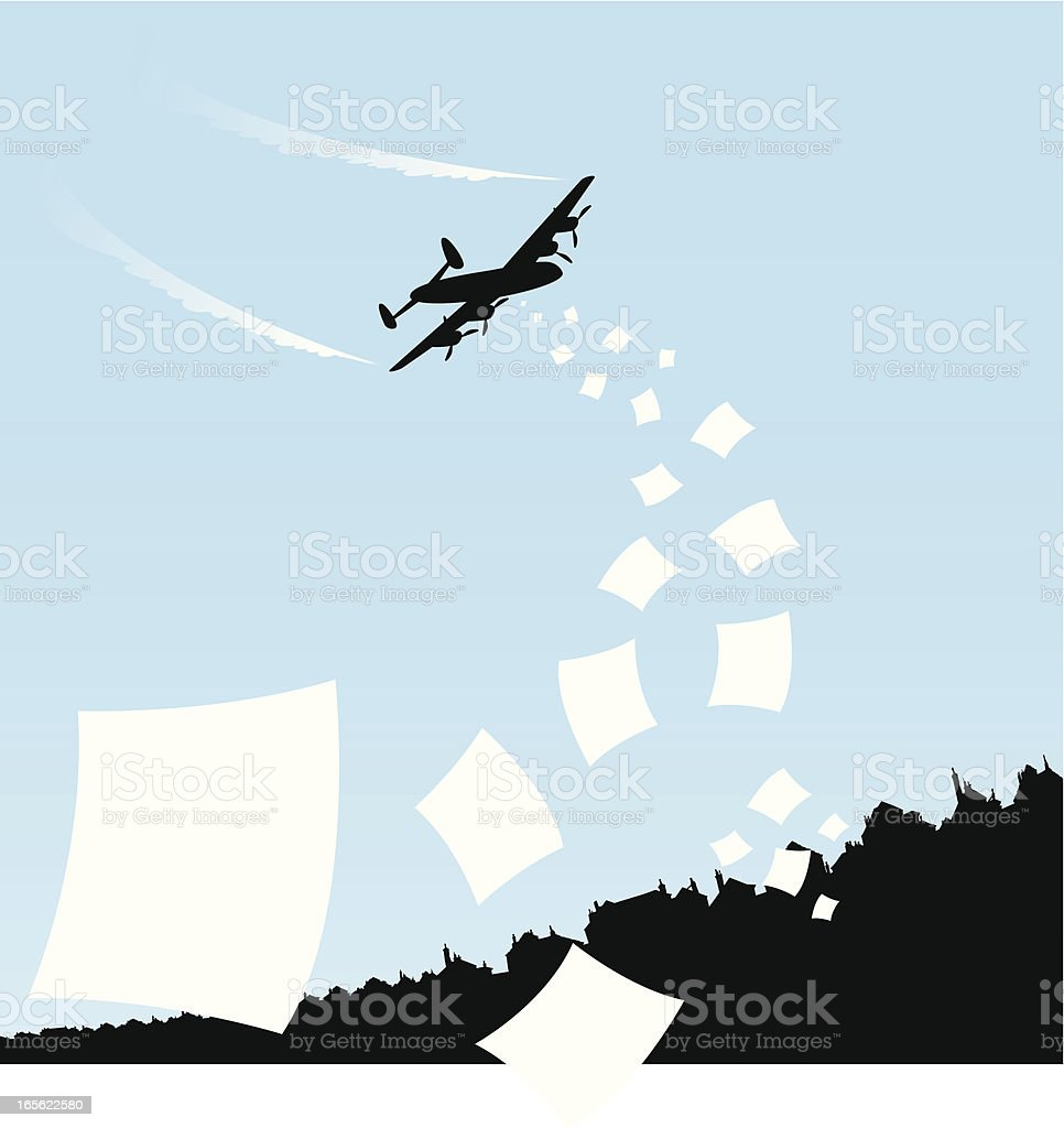 Airplane flyering leaflets royalty-free stock vector art