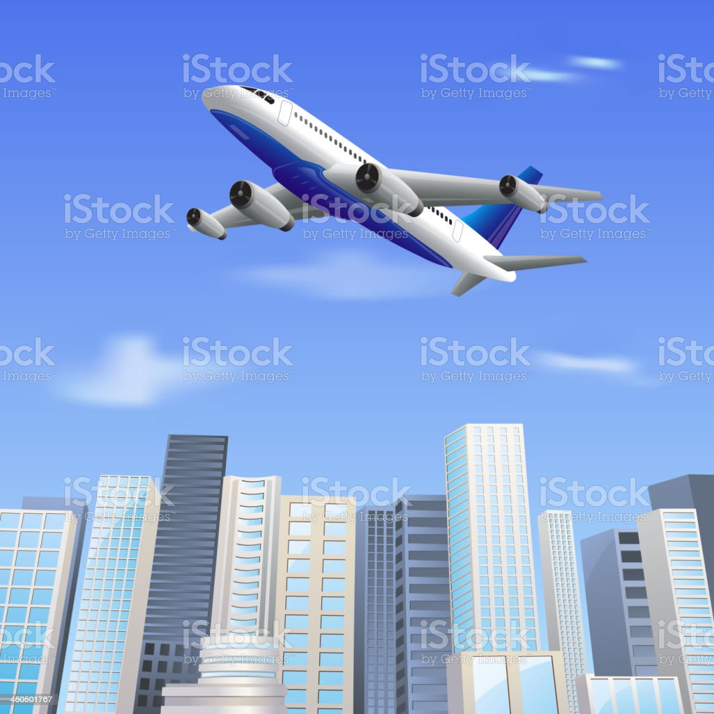 Airplane flying above Skyscraper royalty-free stock vector art