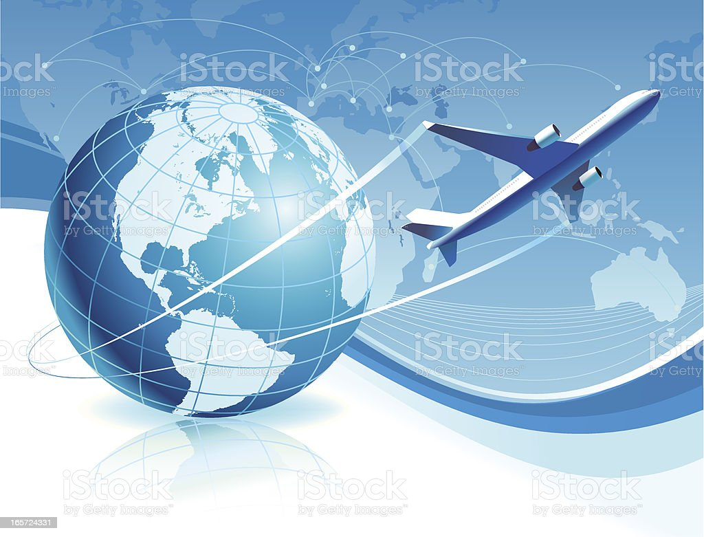 airplane flying around the world royalty-free stock vector art