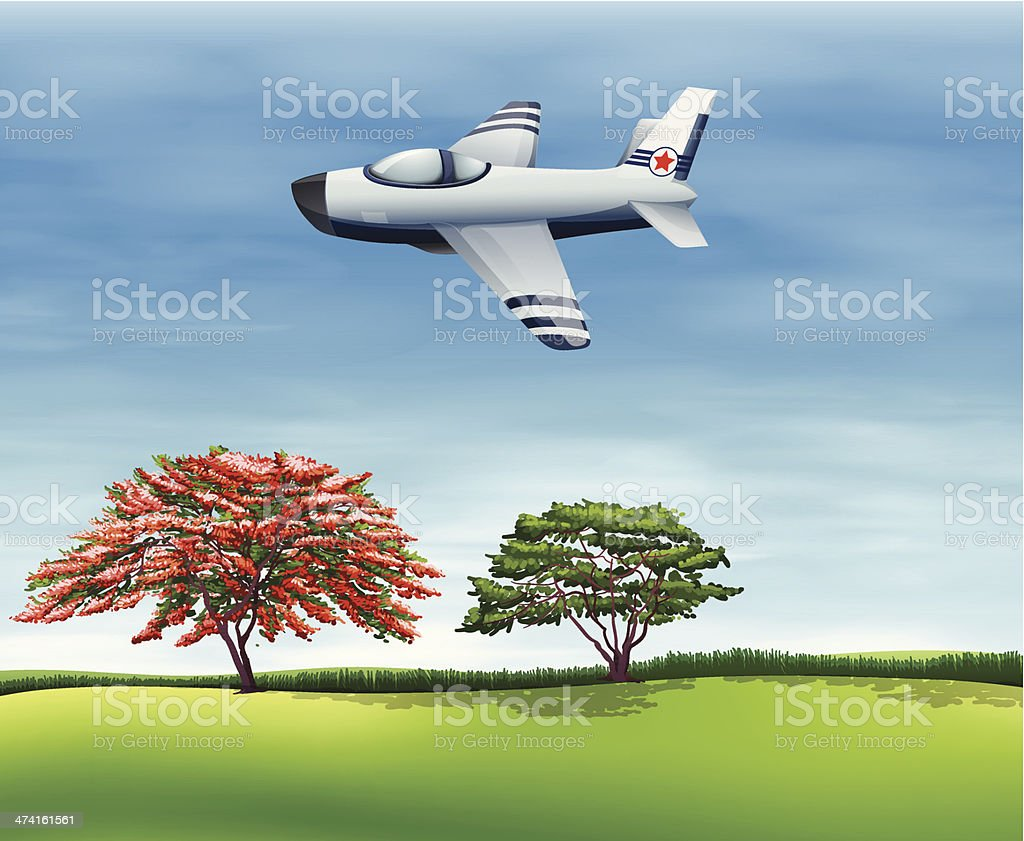 airplane flying in the sky vector art illustration