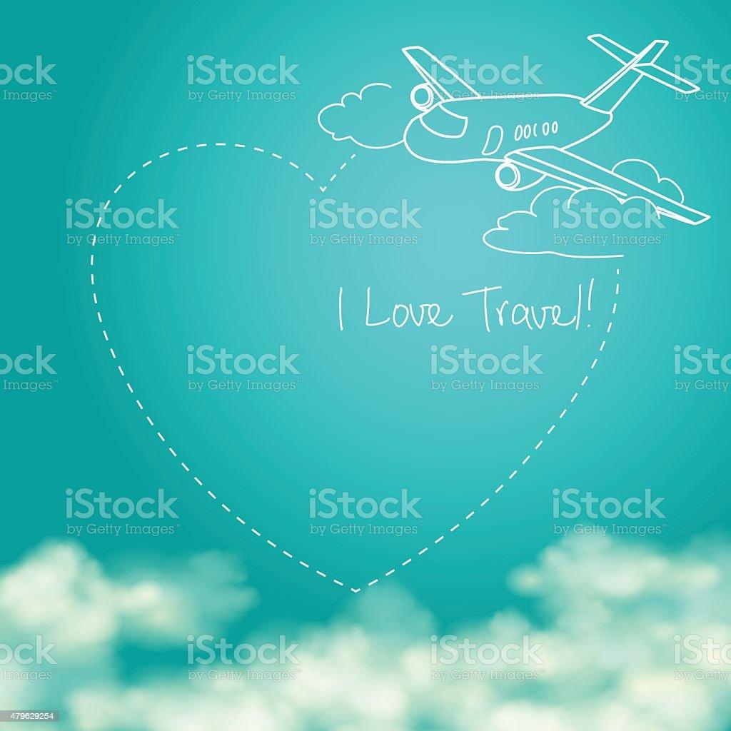 Avião voando no céu azul ensolarado vetor e ilustração royalty-free royalty-free