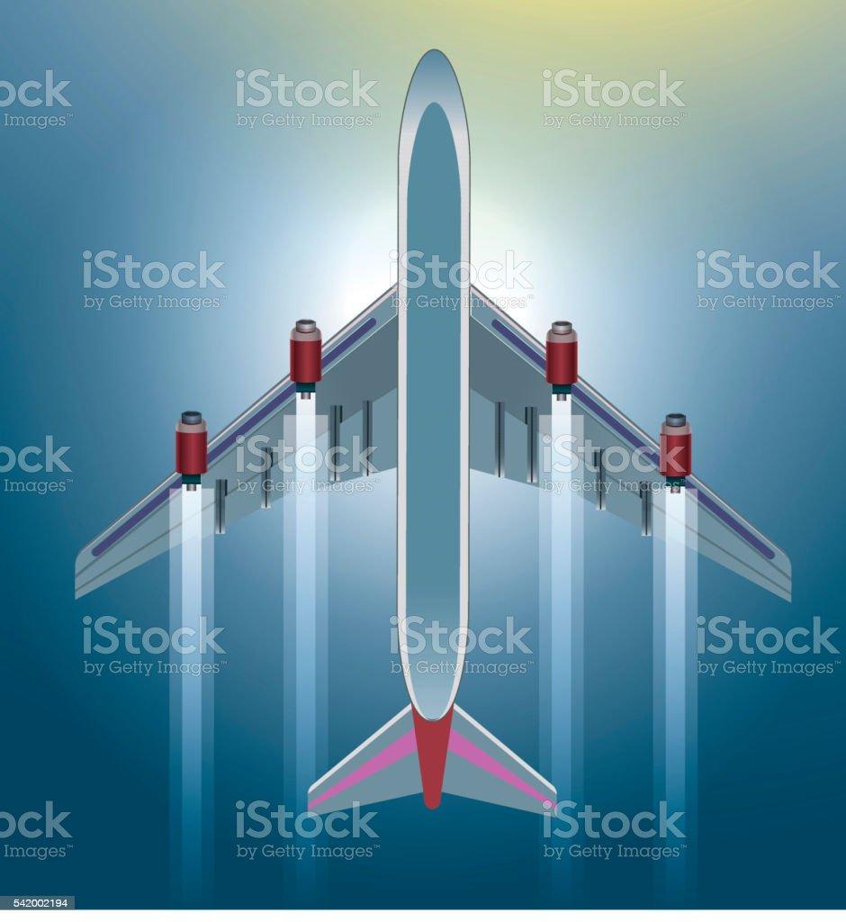 Airplane flying the sky vector art illustration