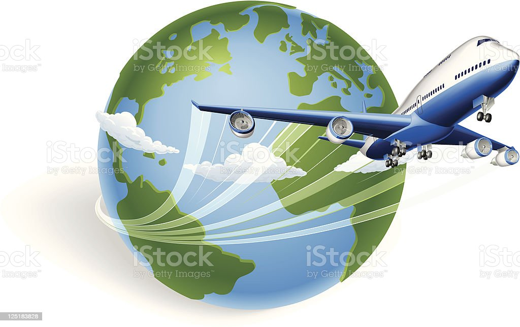 Airplane globe concept vector art illustration