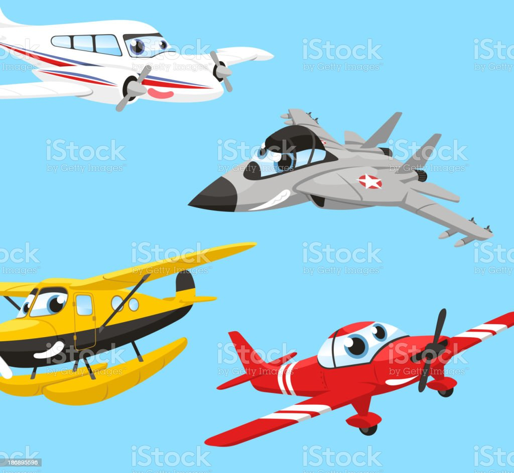 Airplane Humanized Combat Plane Hydroplane Biplane Aircraft royalty-free stock vector art