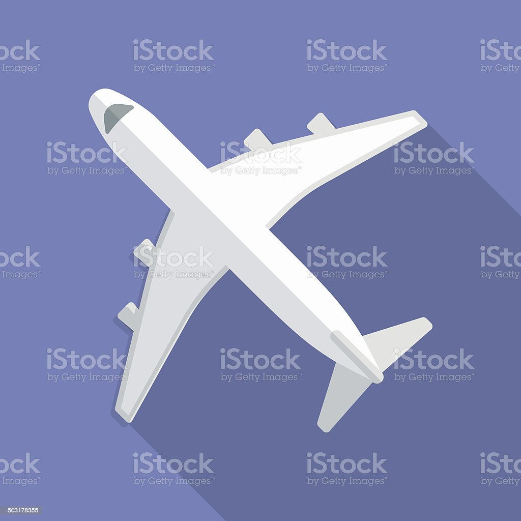 Airplane icon. Modern Flat style with a long shadow vector art illustration