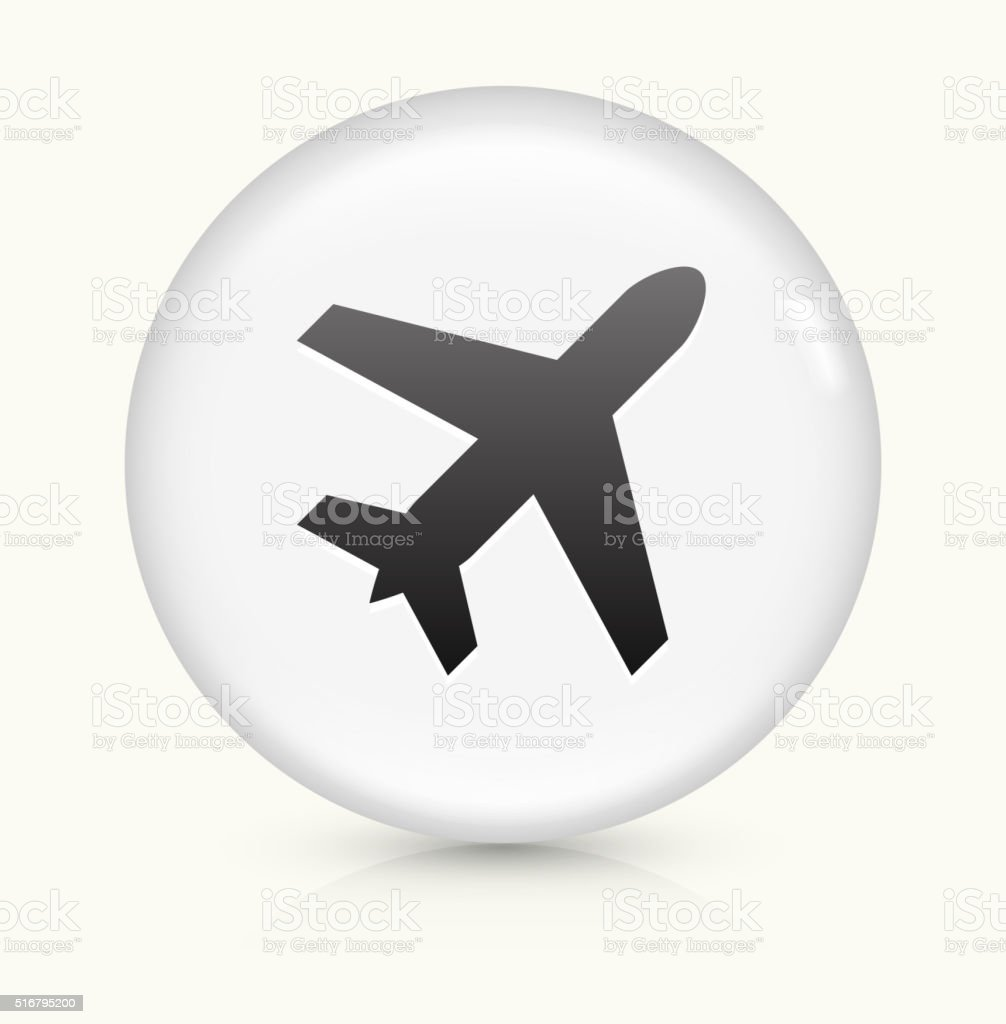 Airplane icon on white round vector button vector art illustration