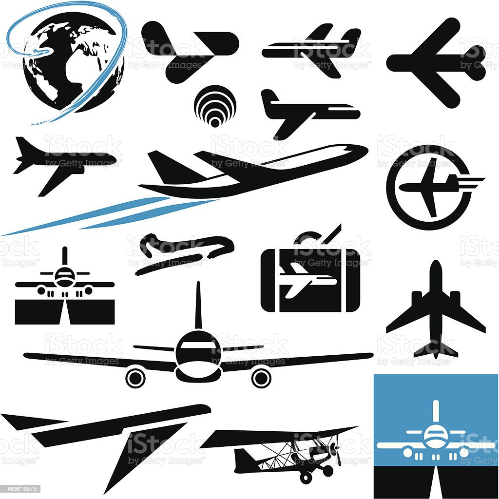 Airplane icons. Plane. vector art illustration