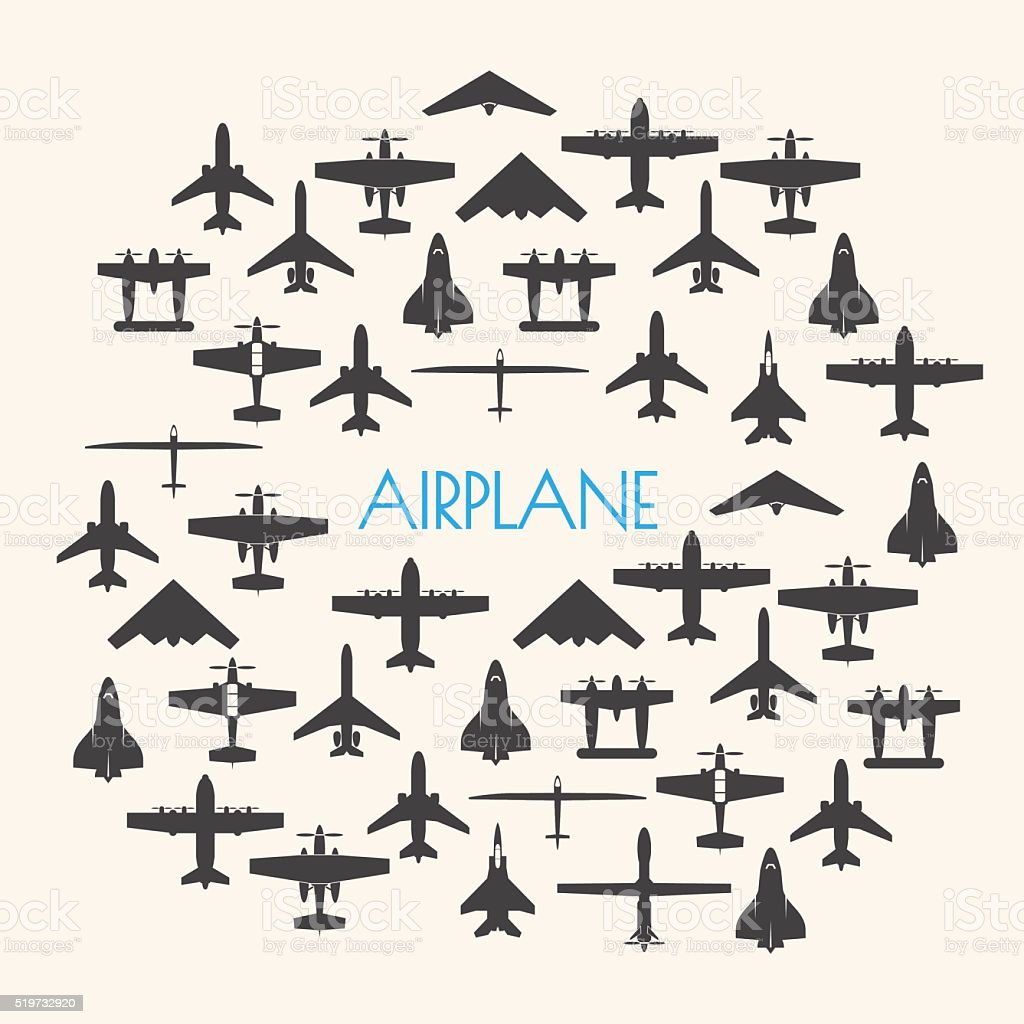 airplane icons set and Background vector art illustration