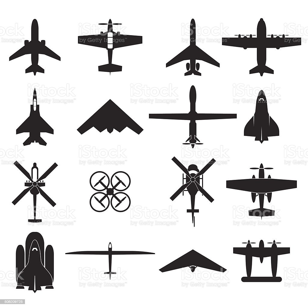airplane icons set vector art illustration