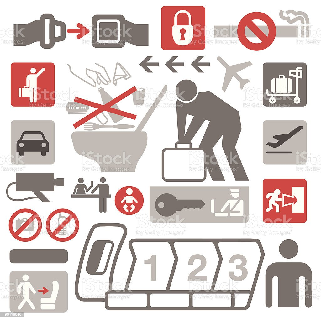 Airplane Icons vector art illustration