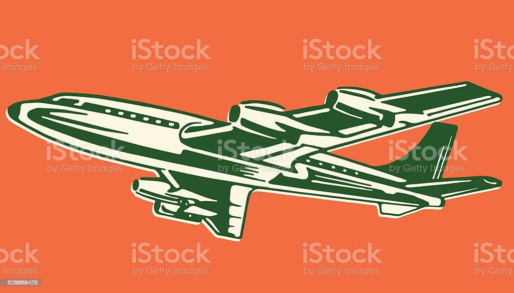 Airplane in Flight vector art illustration