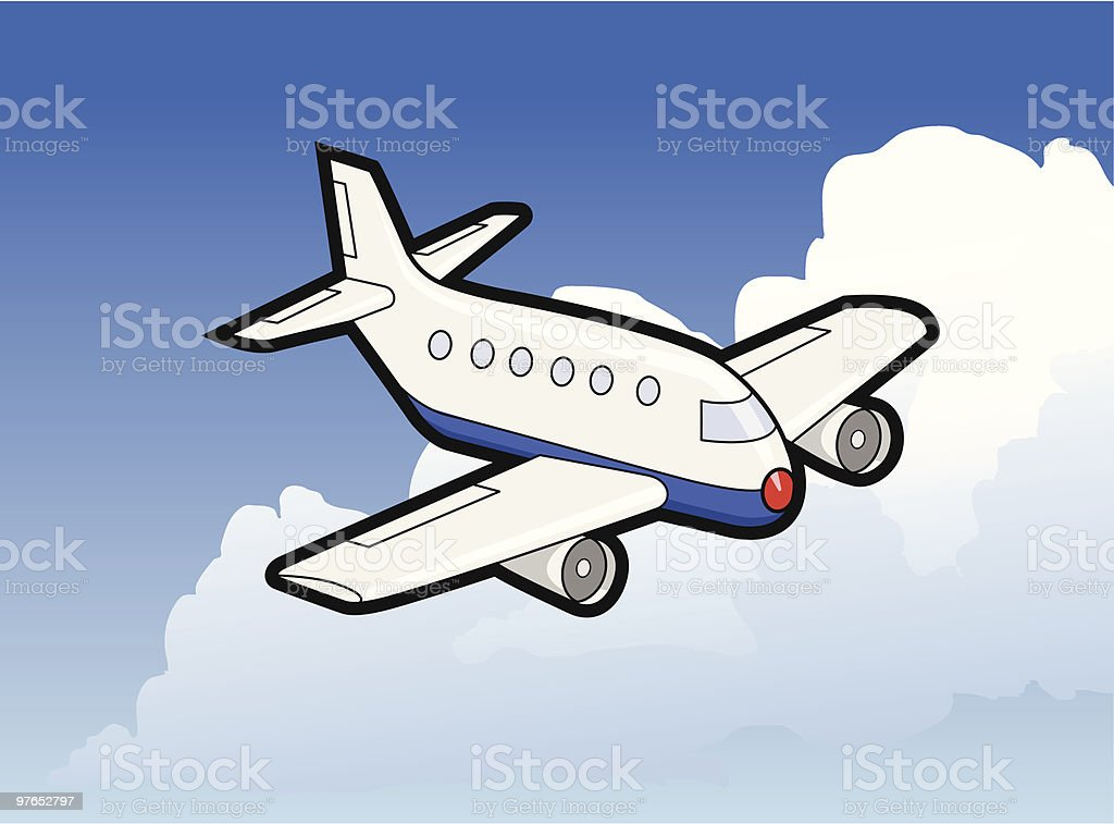 Airplane in flight royalty-free stock vector art