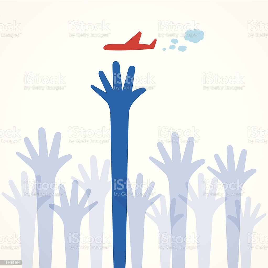 airplane in hand royalty-free stock vector art