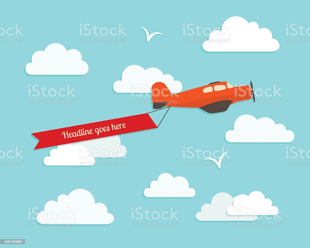 Airplane in the cloudy sky. Flat vector illustration. vector art illustration