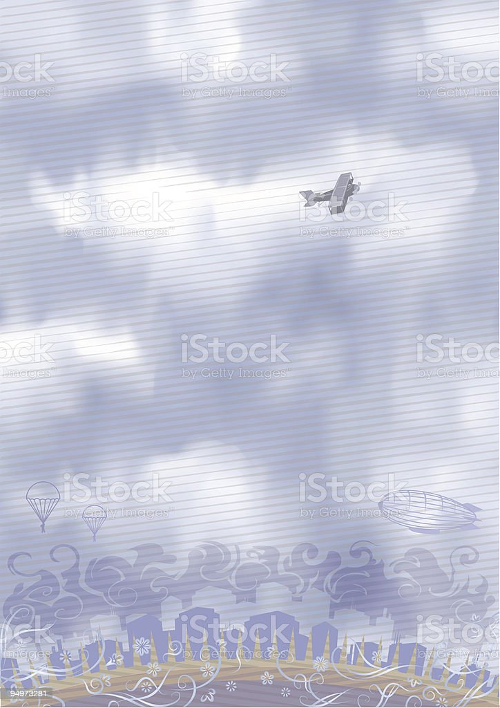 Airplane in the sky royalty-free stock vector art