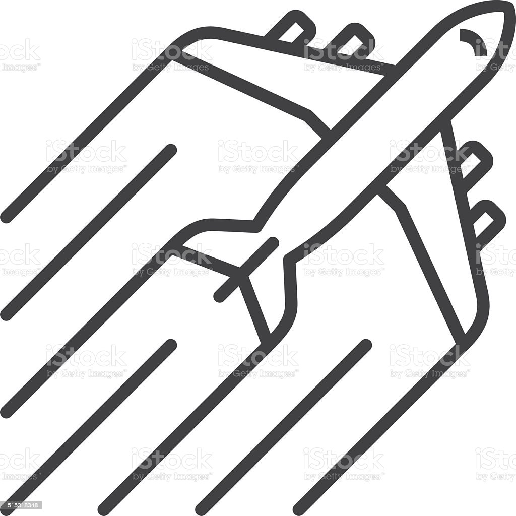 Airplane line icon vector art illustration