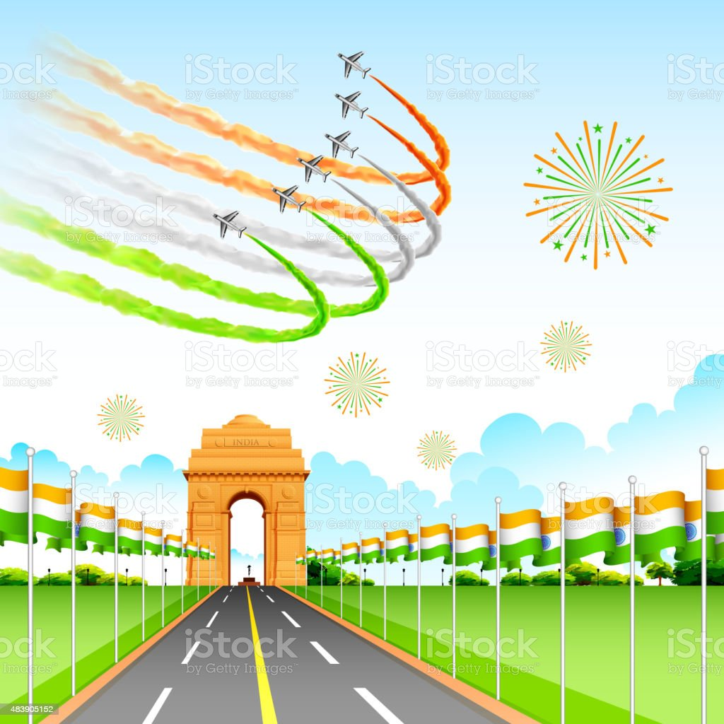 Airplane making Indian tricolor flag around India Gate vector art illustration