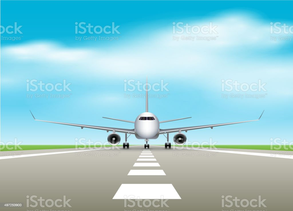 Airplane on airport vector art illustration