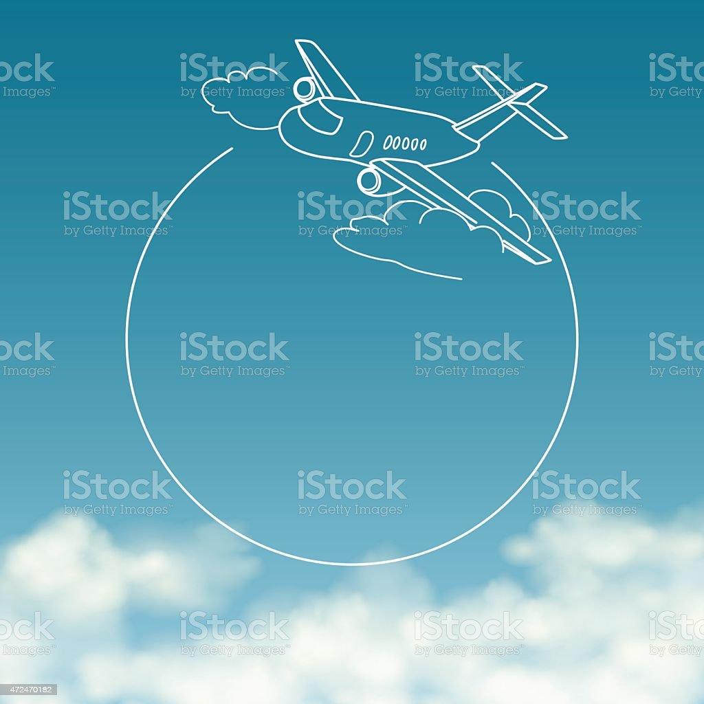 Avião sobre fundo de céu nublado com espaço para texto vetor e ilustração royalty-free royalty-free