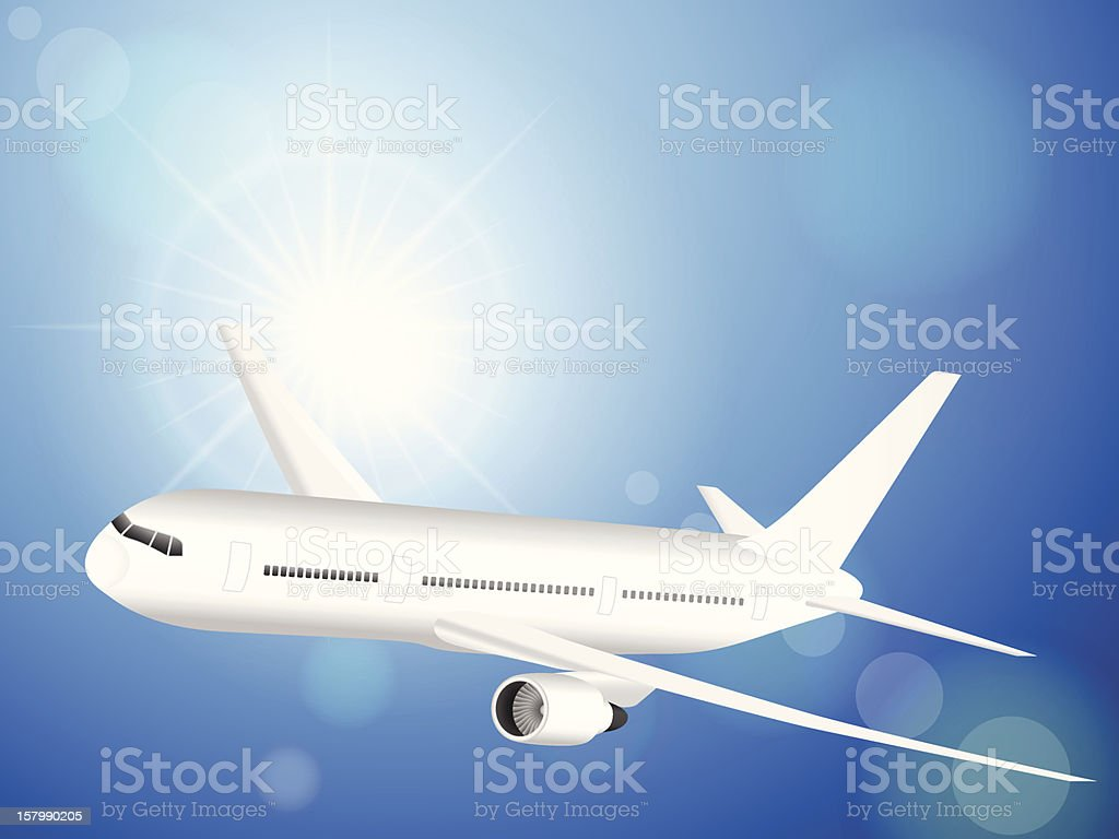 airplane on blue sky royalty-free stock vector art