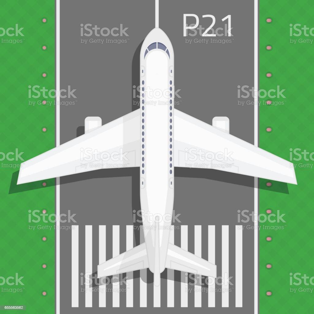 Airplane on the runway. vector art illustration