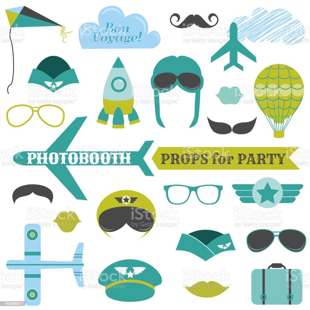 Airplane Party set royalty-free stock vector art