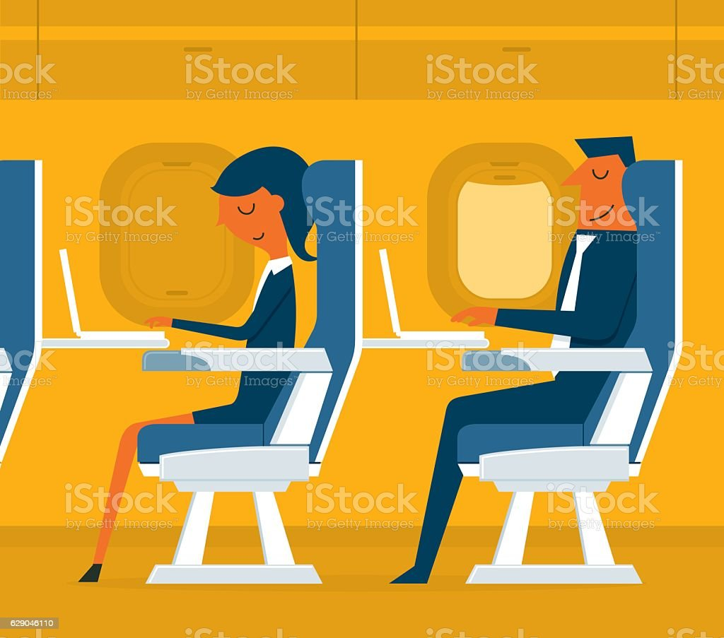 Airplane passenger vector art illustration