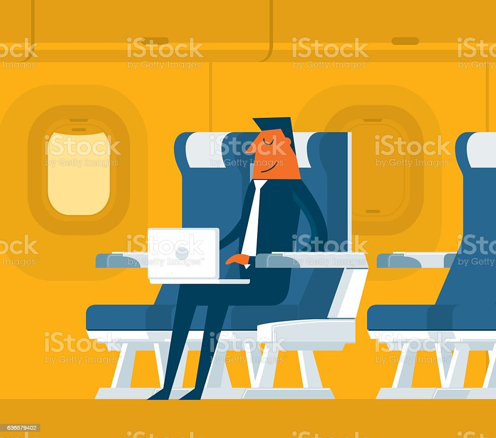 Airplane passenger vector art illustration