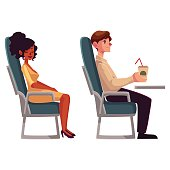 Airplane passengers - black, african woman and man drinking coffee
