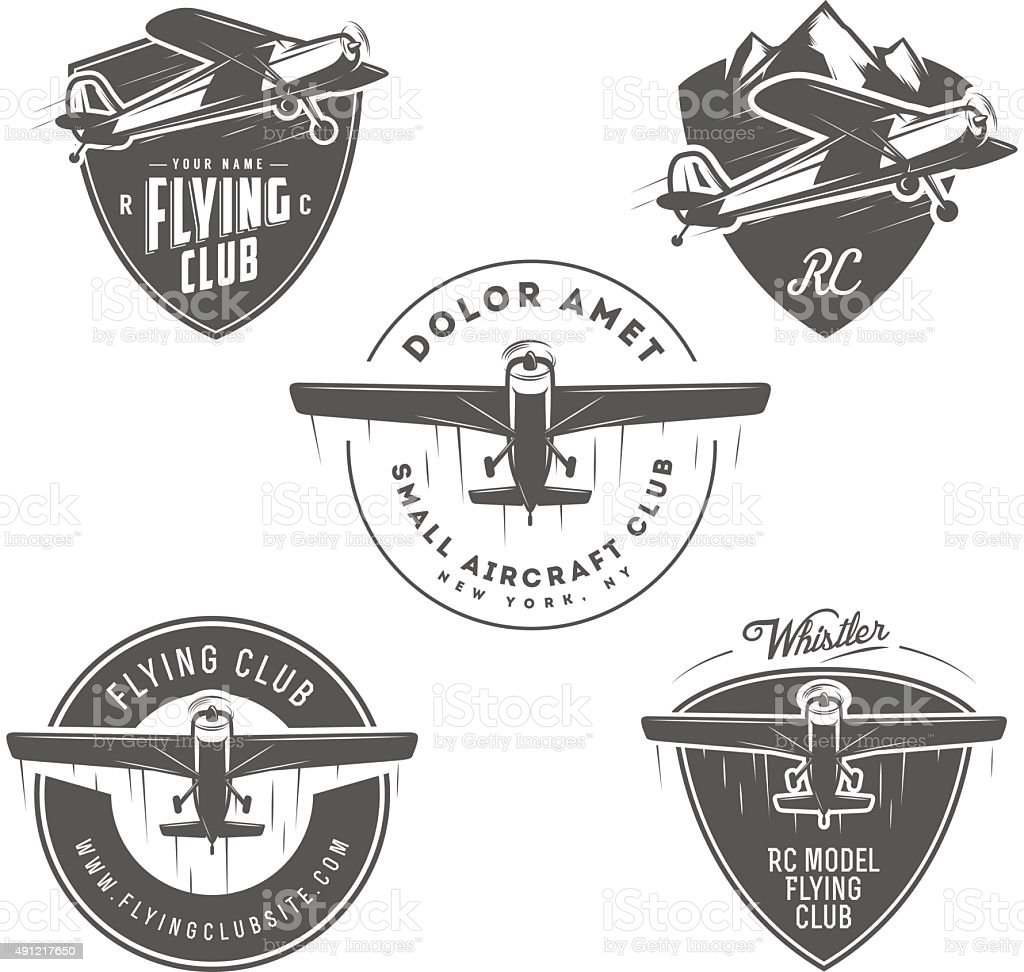 Airplane related emblems, labels and design elements vector art illustration