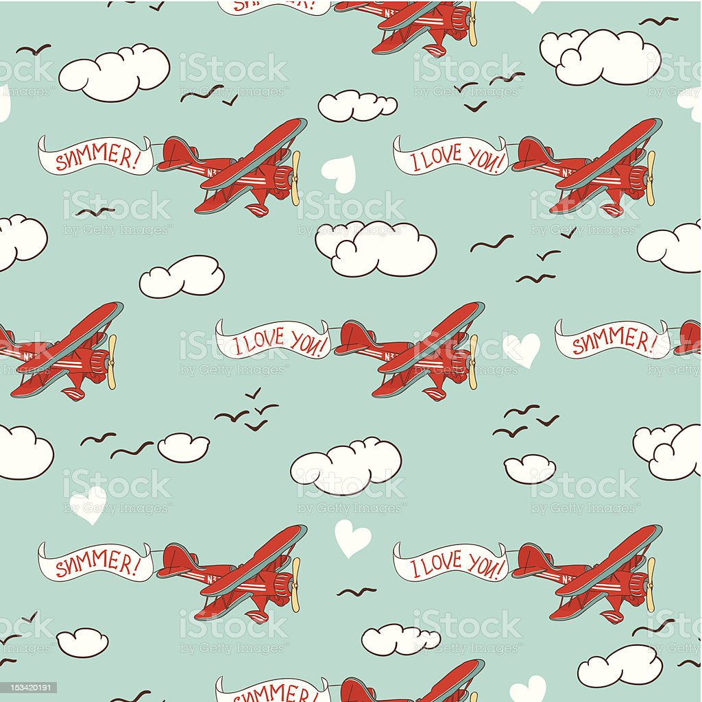 Airplane seamless pattern royalty-free stock vector art