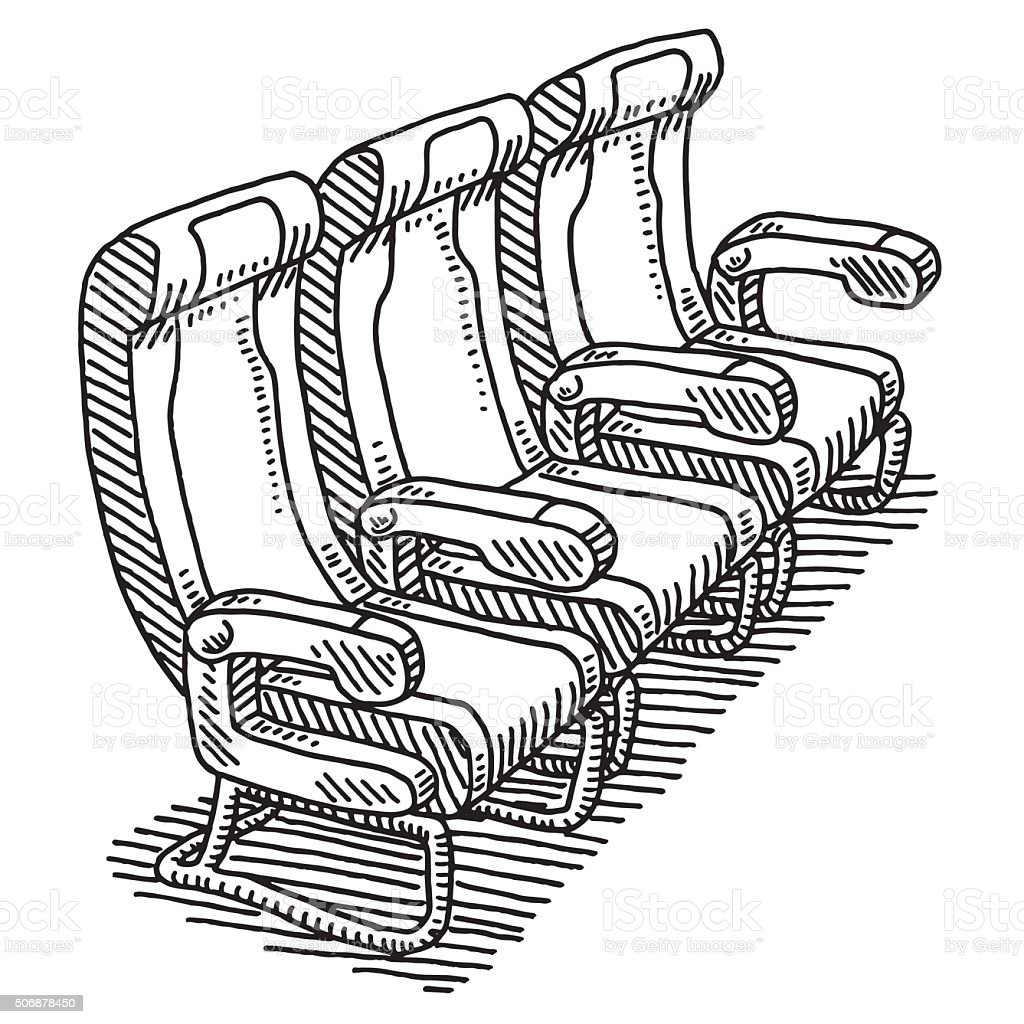 Airplane Seat Row Drawing vector art illustration