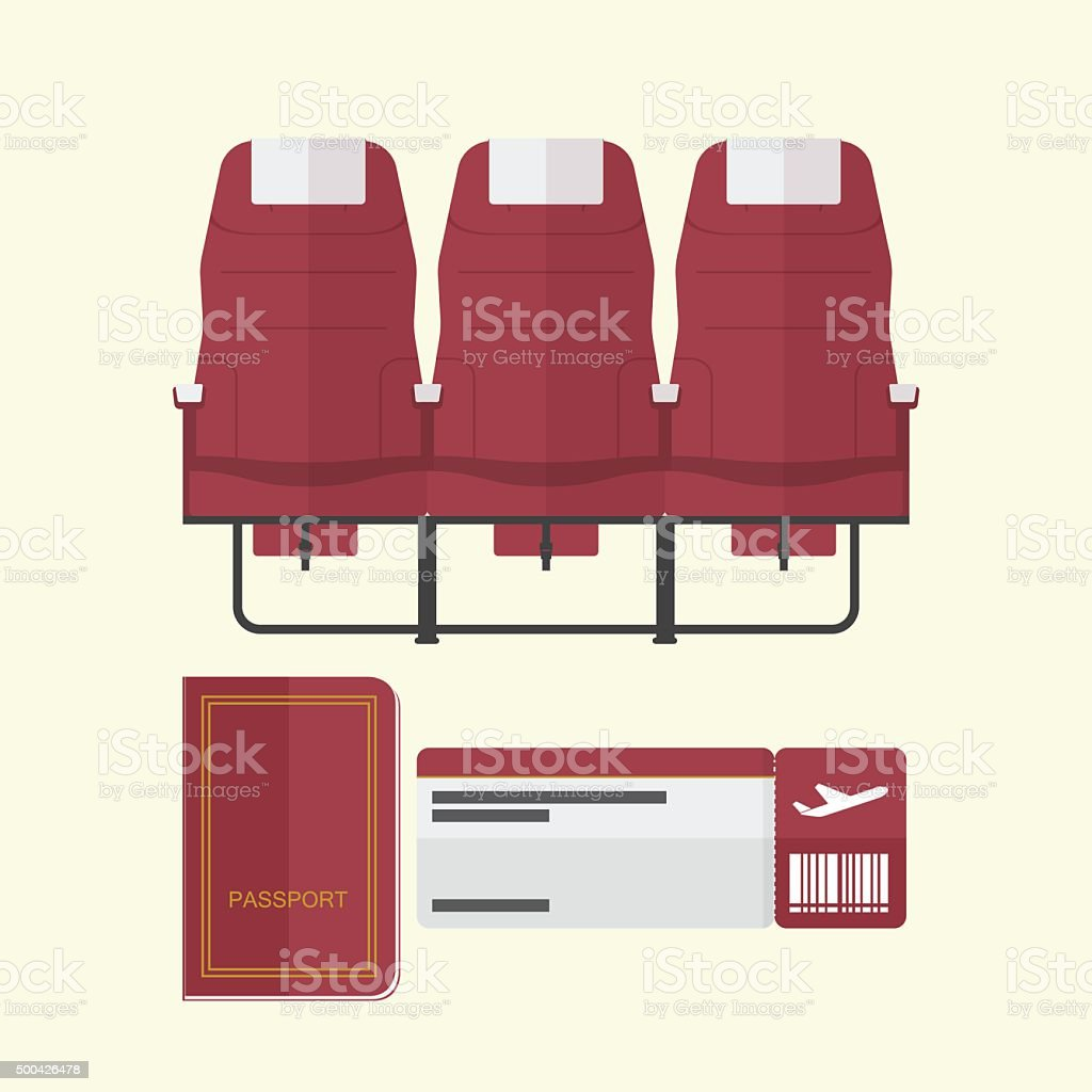 Airplane seat with passport and boarding pass in flat design vector art illustration