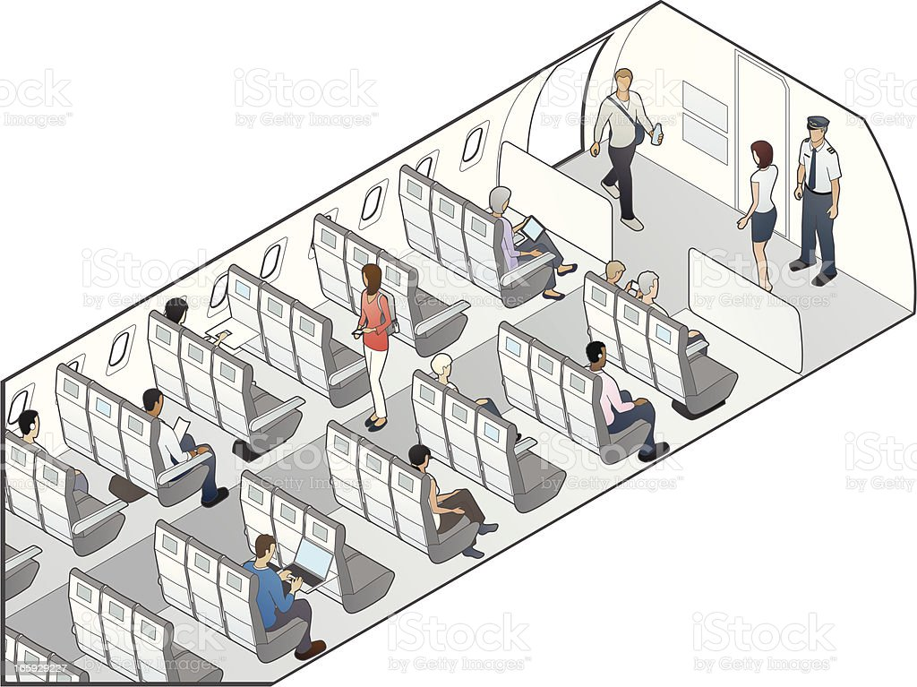 Airplane Seating Illustration vector art illustration