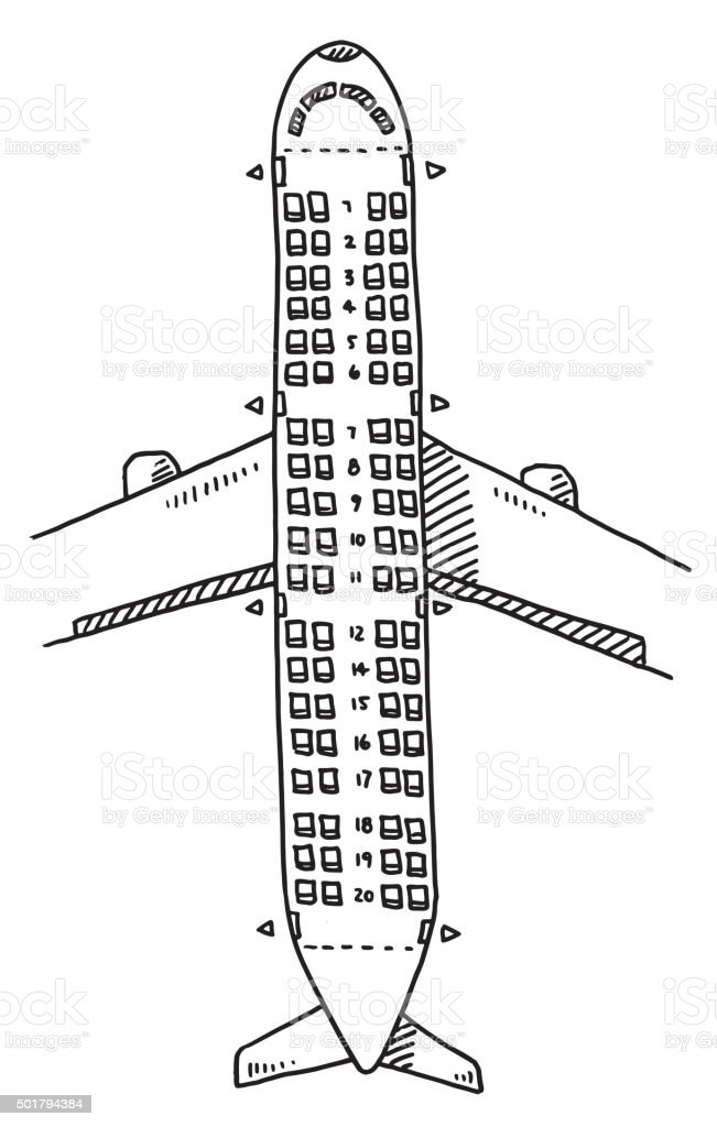 Airplane Seats Overhead View Drawing vector art illustration