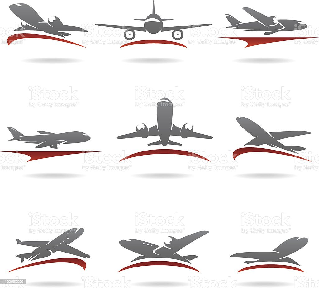 Airplane set. Vector vector art illustration