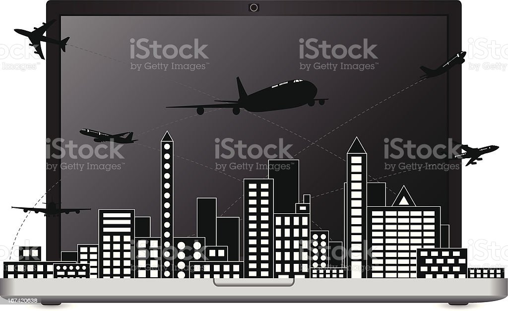 Airplane shipping around the city for transport concept, Vector. royalty-free stock vector art