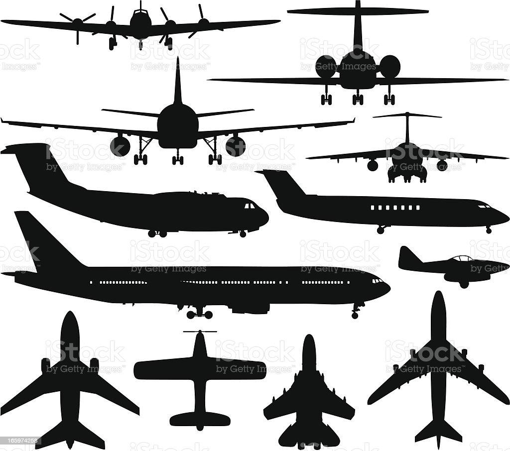 Airplane Silhouettes vector art illustration
