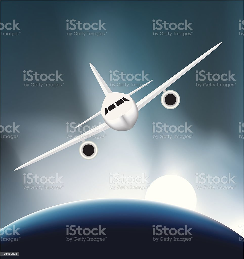 airplane soaring above the earth royalty-free stock vector art