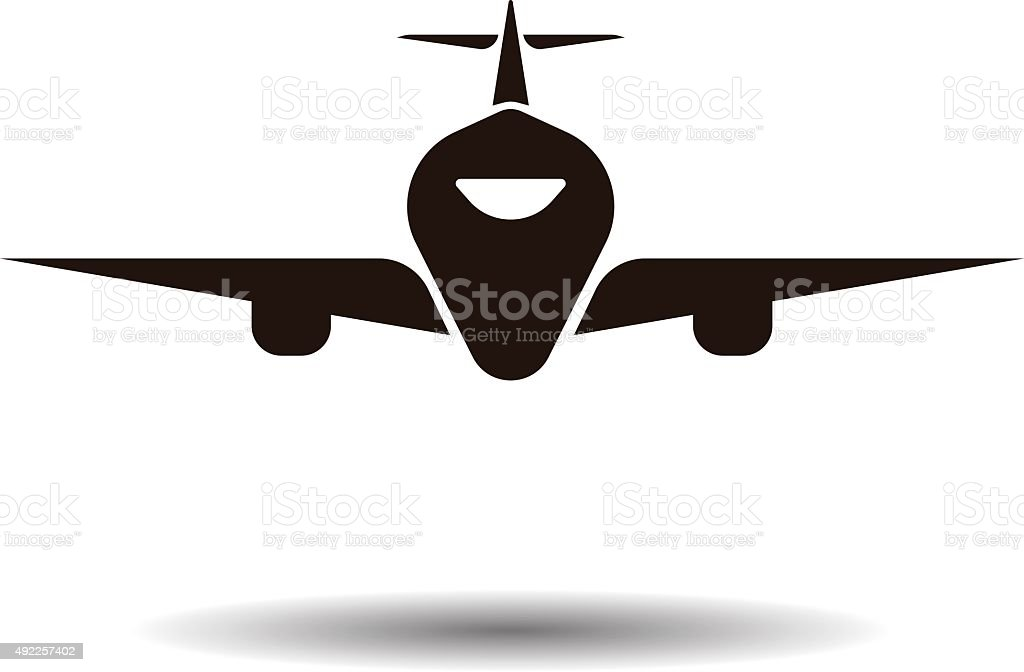 airplane symbol silhouette black icon front view stock